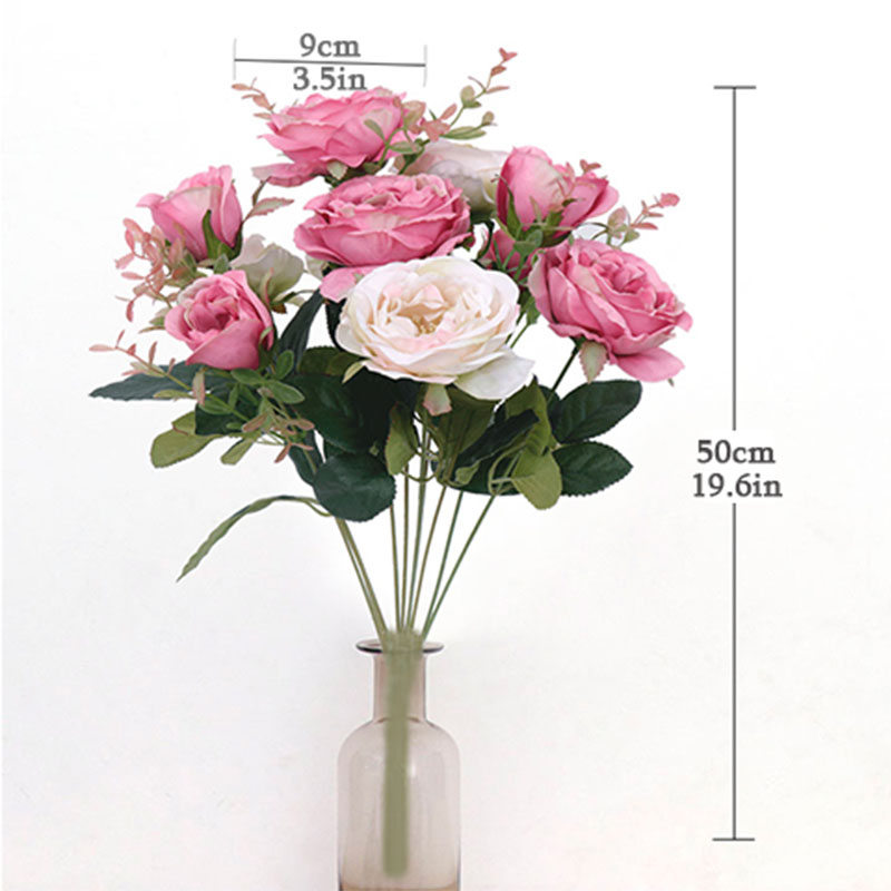 11 Head Artificial Rose Silk High Simulation Flowers Home Decoration Wedding Decorative Moisturizing Feel Hibiscus Roses Pile in Artificial Dried Flowers from Home Garden