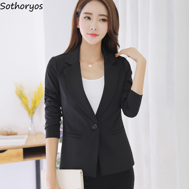 Blazers Women Solid Simple Slim Pockets Single Button Long Sleeve Blazer Womens Autumn Elegant Trendy Korean Style Ladies Chic