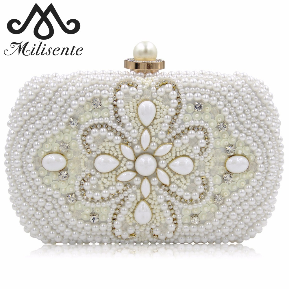 Milisente New Arrival Women Clutch Bags With Chain Ladies Beauty Wedding Purses Female White Beaded Handmade Bag High Quality цена и фото