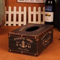 Europeu Do Vintage De Madeira Caixa de Armazenamento de Papel de Mesa Caixa de Tecido Decoração de Mesa Guardanapo de Papel Titular Titulares Quadrado Automático ZJ49
