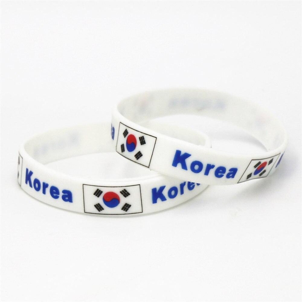 1 StÜck Korea Fußball Sport Silikon-armband Fußball Nationalflagge Buchse Gummi Armbänder & Armreifen Geschenke 2018 Sh237 Jade Weiß