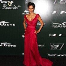 Холли Берри бордовый ежегодный костюм дизайнеры гильдии награды кружева красной ковровой дорожки платье плиссированная юбка из тюля с v-образным вырезом длиной до пола, вечернее платье
