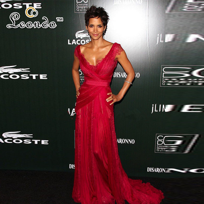 Weddings & Events Halle Berry Burgundy Annual Costume Designers Guild Awards Lace Red Carpet Dress Tulle Pleat V-neck Floor-length Evening Dress