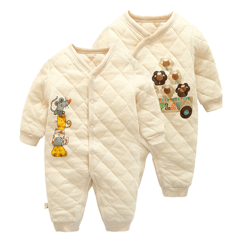 0~12 Months Fashon New Born Baby Romper Gilrs Boys Organic Cotton Thicken Jumpsuit Kids Children Clothes