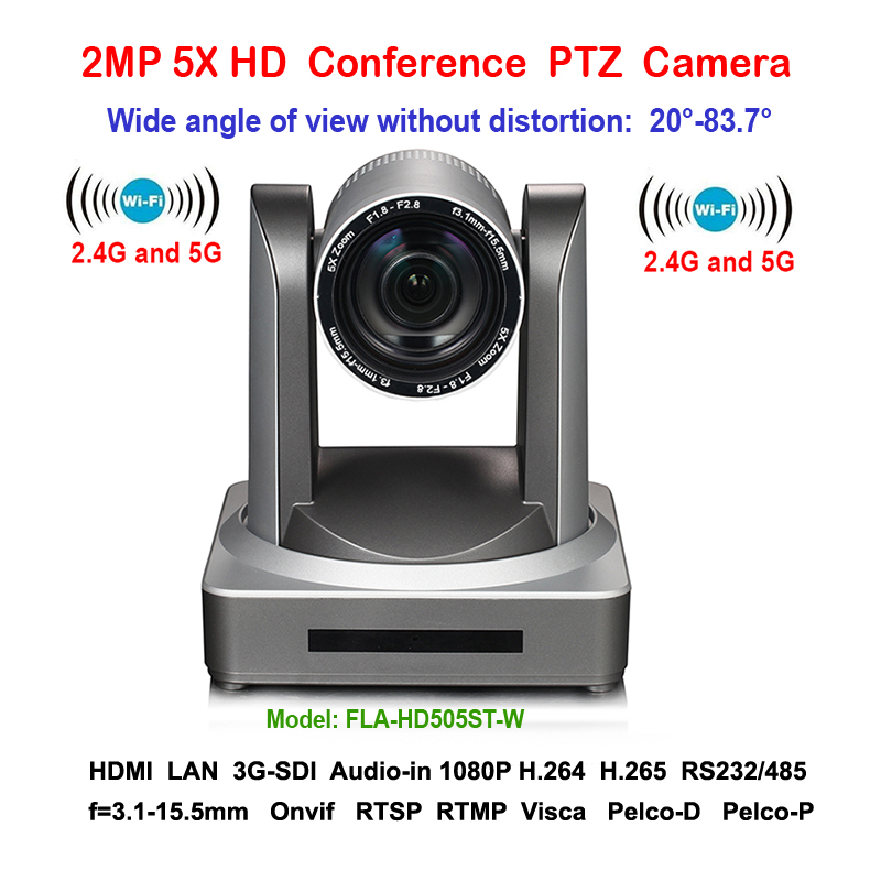 2MP Wide angle 83 degree 5X Zoom 1080P/60fps PTZ Video Conferencing WIFI Camera Wireless with 3G-SDI IP HDMI Output