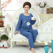 2019 Xl Xxl 3Xl 4Xl Large Size Female Home Suit Spring Long Sleeve Women Flower Print Pijamas Sleepwear Sets