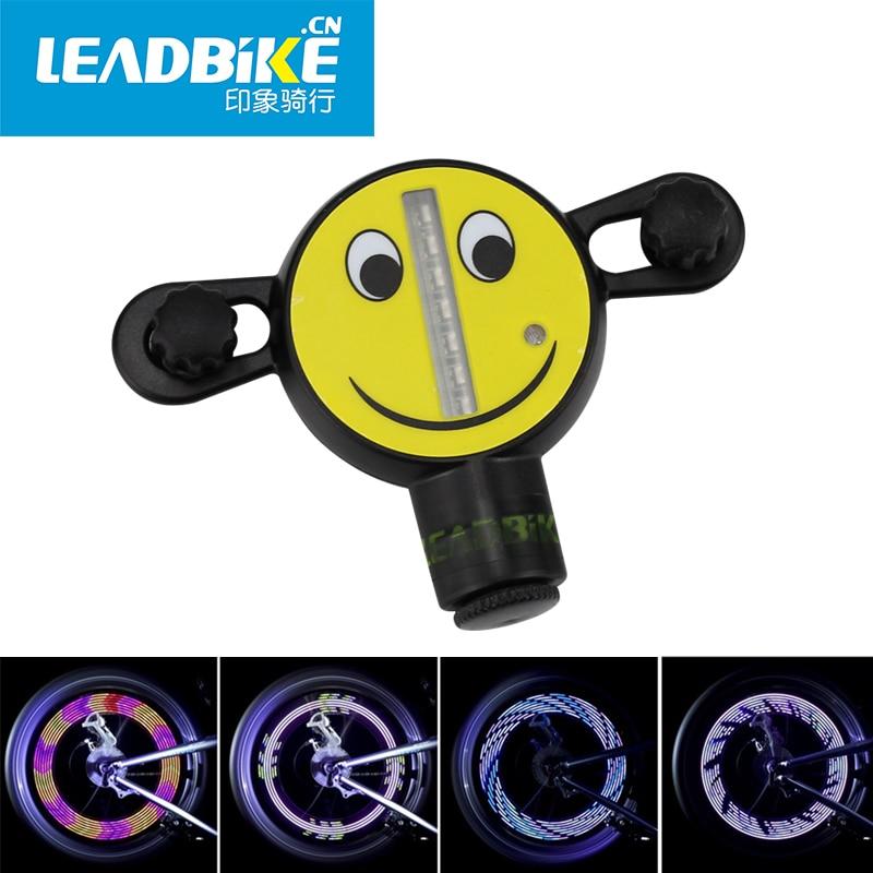 LEADBIKE Bicycle Wheel Spoke Light 14 LED Bike Motorcycle Signal Tire Spoke Smile Waterproof Cycling Light 30 Changes Colorful