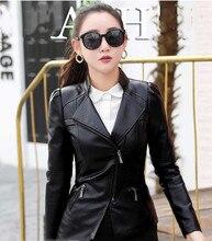 M  Korean fashion Office Lady Turn-down Collar Pockets faux leather jacket women