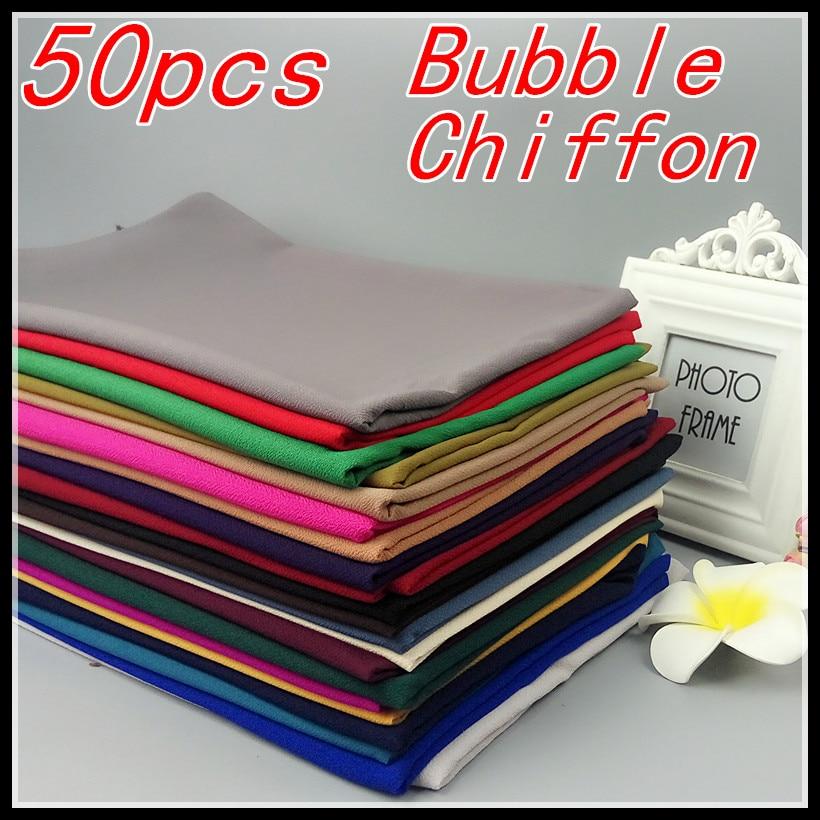50pcs/lot High Quality Plain Bubble Chiffon Shawls Headbands Popular Hijab Summer Muslim Scarfs