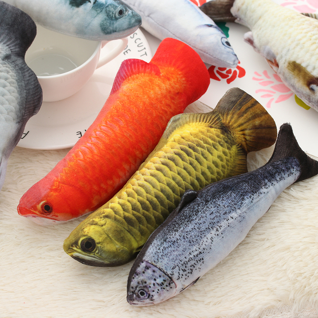 1PC Artificial Fish Plush Pet Cat Puppy Dog Toys Sleeping Toy Cat Mint Catnip Toys Cute Fish Tank Aquarium Decoration 2