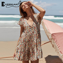 Everkaki 2018 Summer New Women Boho Floral Print Mini Dress Vestidos Bow Summer Dress V Neck Bohemian Beach Style Dresses Female