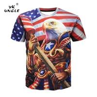 YK 삼촌 브랜드 새로운 패션 3d 티셔츠 남성 여름 뜨거운 판매 인쇄 미국 국기 미국 독수리 티셔츠 캐주얼 힙합 티