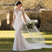 a32785e9d57844 Sexy Kant Mermaid Wedding Dress 2019 Kant Bruid Jurk Scoop Lace Applique  Backless Lange Boho vestido de noiva Wit gelinlik