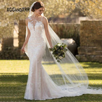 Sexy Lace Mermaid Wedding Dress 2019 Lace Bride Dress Scoop Lace Applique Backless Long Boho vestido de noiva White gelinlik