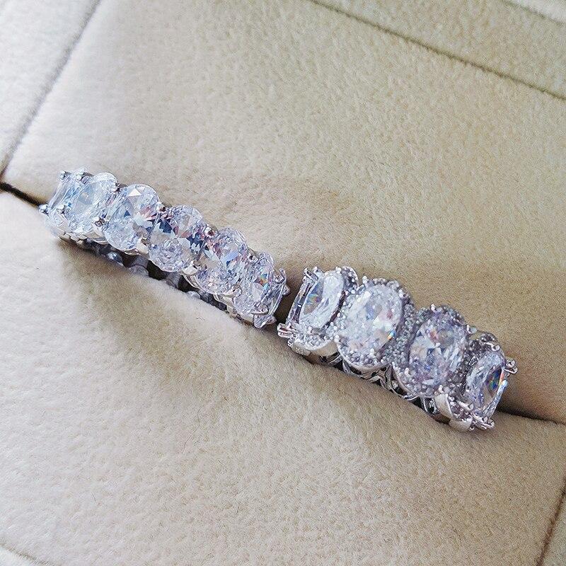 Moonso Real 925 bague de mariage ovale en argent Sterling pour femmes ensemble de fiançailles de luxe bande éternité bijoux zircone LR5348S
