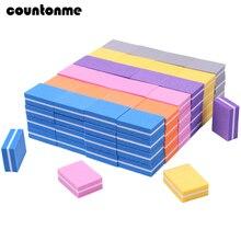 Mini lima de uñas, 20 Uds., esponja amortiguadora de uña cuadrada, bloque para pulir, lijar, 100/180, salón de manicura, herramientas de arte, Lima multicolor