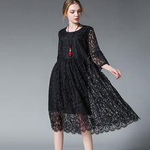 Euramerican High end elegant plus size dresses women Maternity dress lace loose crew neck high waist dress spring new XL to 4XL недорого