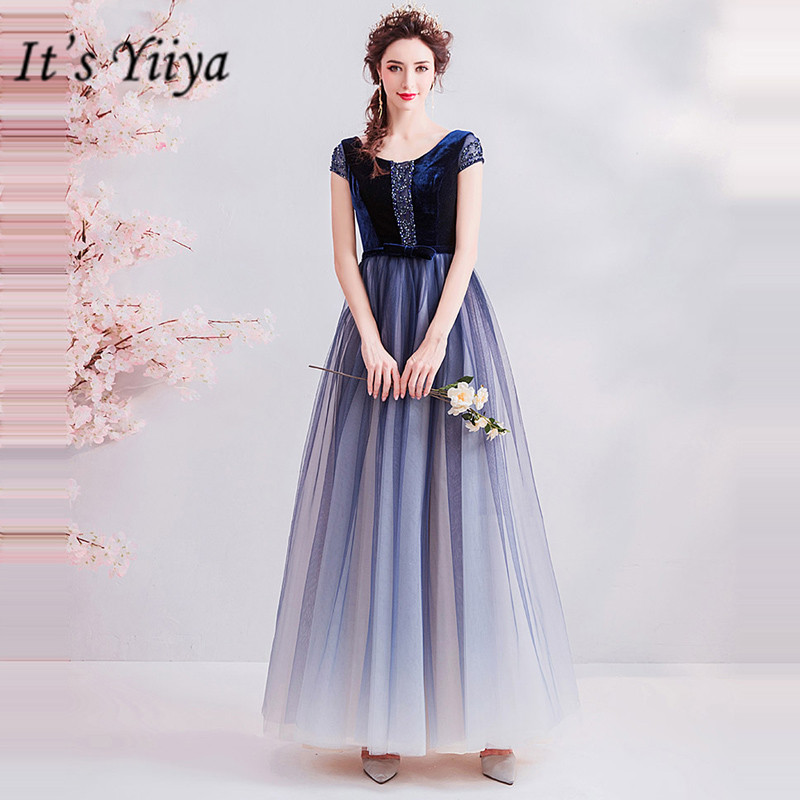 It's YiiYa   Prom   Gowns Short Sleeves A-Line Ankle-Length Length Beading Party   Dress   Custom Plus Size   Prom     Dresses   2019 E230