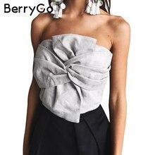 Berrygo шикарный бант замши без бретелек Топ бюстье сексуальные Вечеринка клуб камзол Tank Crop Top Повседневное на молнии летние женские топы