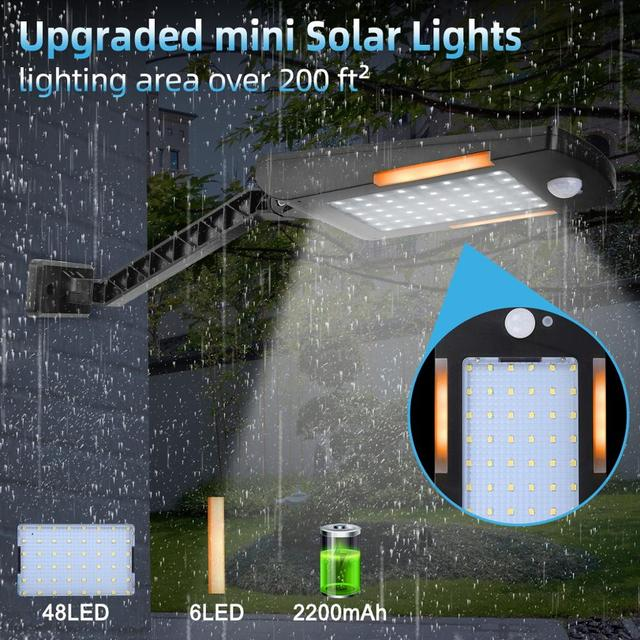 48 LED Solar Light Three Modes Motion Sensor Waterproof Outdoor Garden Lights Decorative Stairs Garden Access Safety Solar Lamp