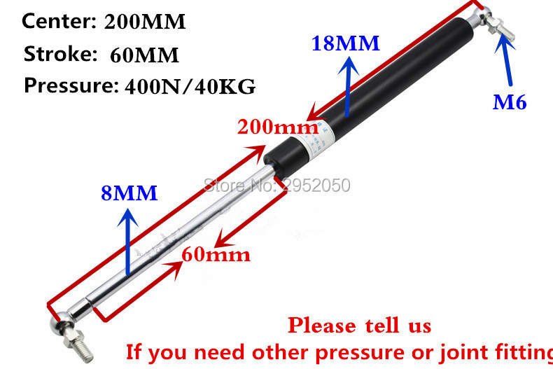 free shipping 40KG/400N force 200mm central distance, 60mm stroke, Ball End Lift Support Auto Gas Spring, Shock absorber