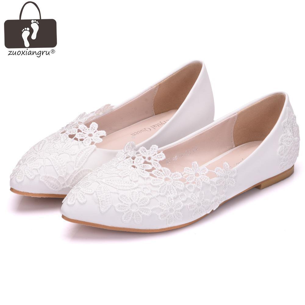 Zuoxiangru Ballet Flats White Lace Wedding Shoes Flat Heel Casual Shoes Pointed Toe Women Wedding Princess Flats Plus Size 43