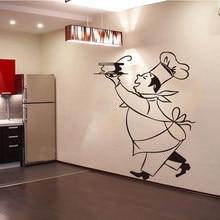 Autocollants muraux en vinyle Chef Cuistot, papier peint, Art Mural, carreaux de Cuisine, décoration de maison DD0308