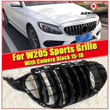 GTS Style Grille grill W205 C205 C Class Models with 360 Camera ABS Black Sporty Front grills without sign 2015-2018