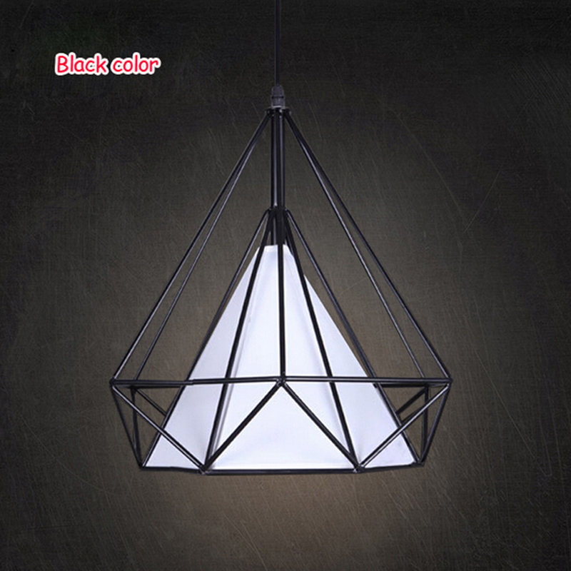 Modern art deco black/white birdcage pendant lights iron minimalist retro light  loft pyramid lamp led bedroom kitchen bar cafe birdcage pendant lights minimalist pyramid light iron led pendant lamp hanging light cafe bar restaurant e27 vintage loft lamps