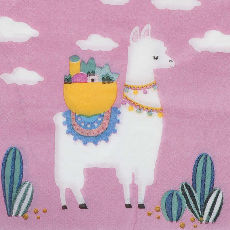 20 pcs הלמה קקטוס נייר מפית מסיבת יום הולדת קישוטי פנים רקמות קיץ הוואי המפלגה דקור ילדים אלפקה ספקי צד