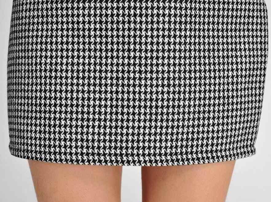 e8e73a58d7c2 ... New Spring Autumn Winter Women Skirt Casual Slim High Waist Short Skirt  Elegant Houndstooth Straight Skirt