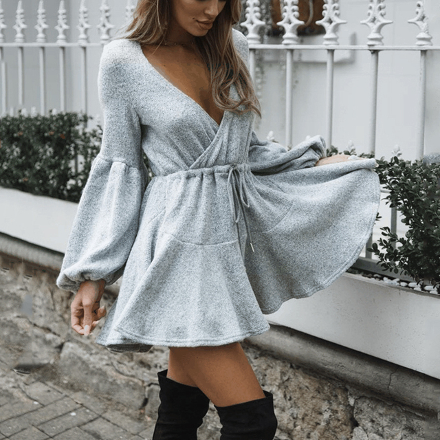 fa9b1db2884 Long Puff Sleeve Cute Vintage Dress Sexy V Neck Elegant Women Short Knitted  Sweater Dress Mini Dresses 2018 Autumn vestido femme