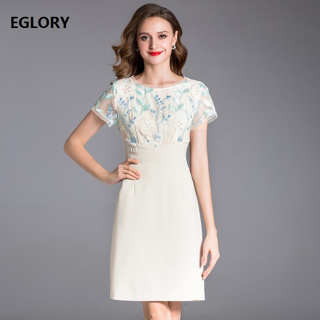 be2a14e6a041 Slim Fitted Women s Dress New Arrival 2018 Summer Clothing Sophisticated  Woman Floral Embroidery Short Sleeve Bodycon