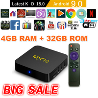 TTVBOX MX 10 Android TV Box 4GB 32GB Latest KD 18.0 Android 9.0 TV BOX RK3328 Quad Core 4K HDR eMMC 2.4GHz WIFI USB 3.0 Smart TV