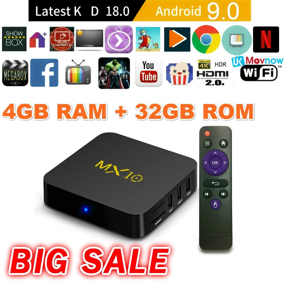 TTVBOX MX 10 Android TV Box 4 GB 32 GB Dernière KD 18.0 Android 9.0 TV BOX RK3328 Quad Core 4 K HDR mem 2.4 GHz WIFI USB 3.0 Smart TV