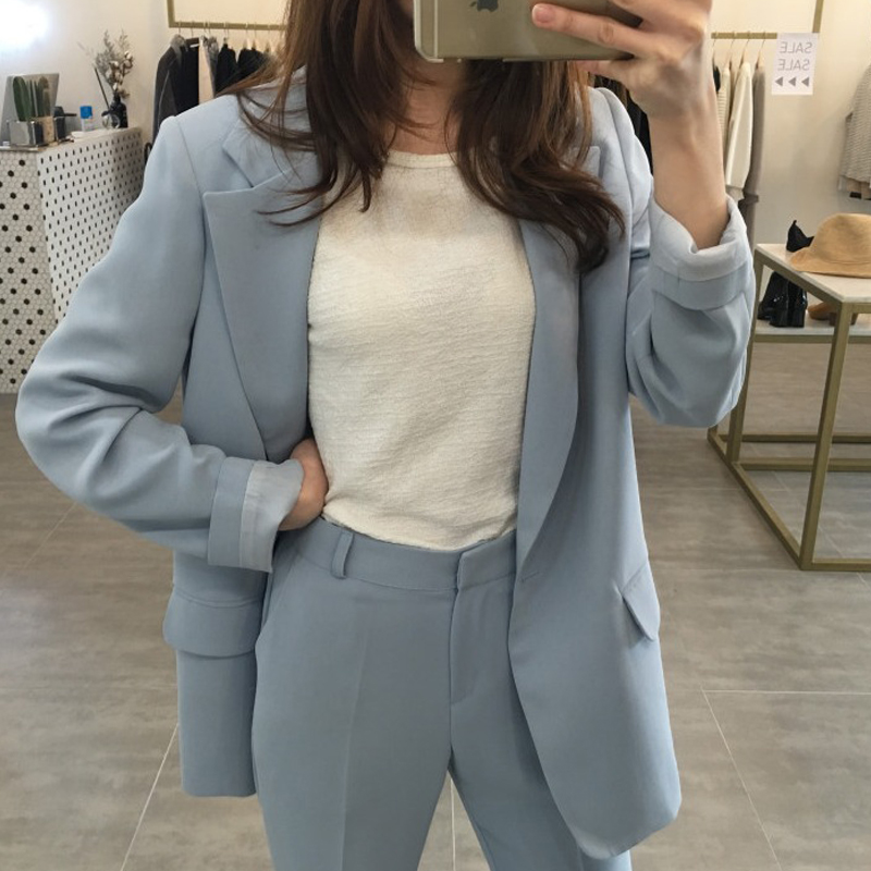 Set female 2018 autumn new temperament elegant solid color wild suit jacket + casual nine pants fashion two-piece suit