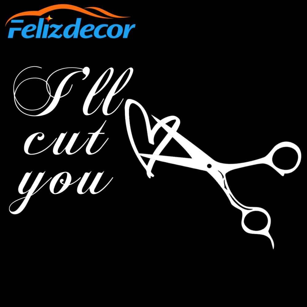 Estilista de pelo divertido cita I'm Cut You tijeras vinilo pegatina para coche arte parabrisas trasero de coche decoración coche ventana extraíble L552
