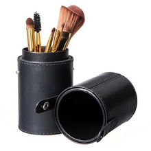 1pc Empty Portable Makeup Brushes Round Pen Holder Cosmetic Tool PU Leather Cup Container Case