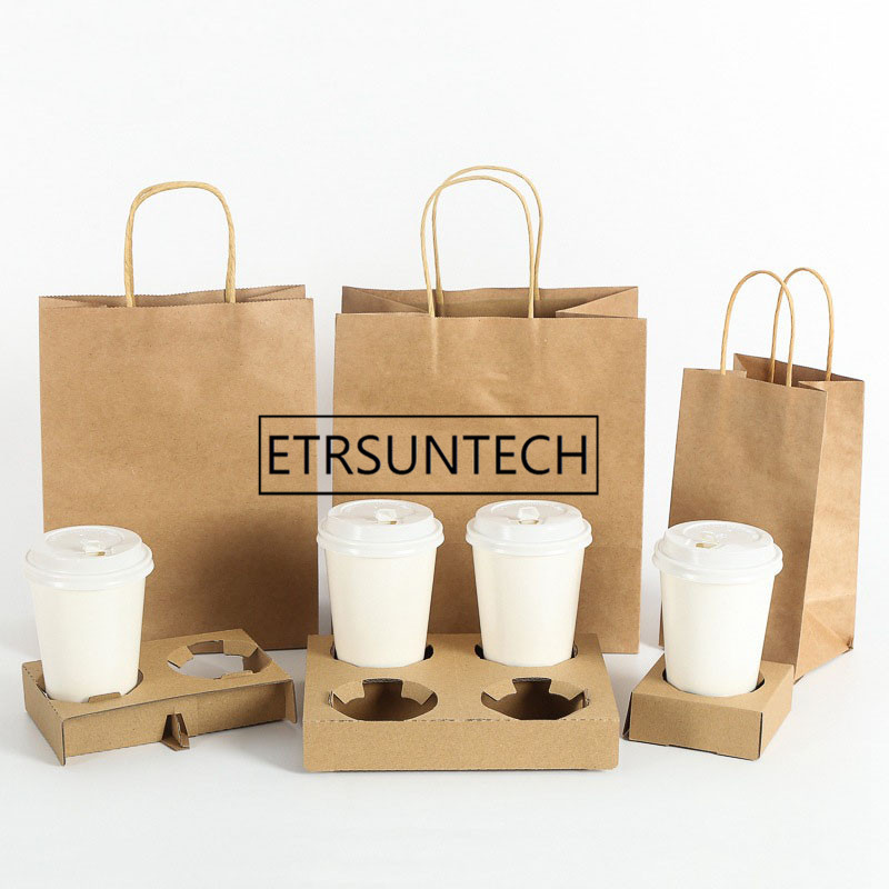 100sets Disposable Coffee Takeout Holder Cafe Milk Juice Packing Tools Holders With Paper Bag Take Away