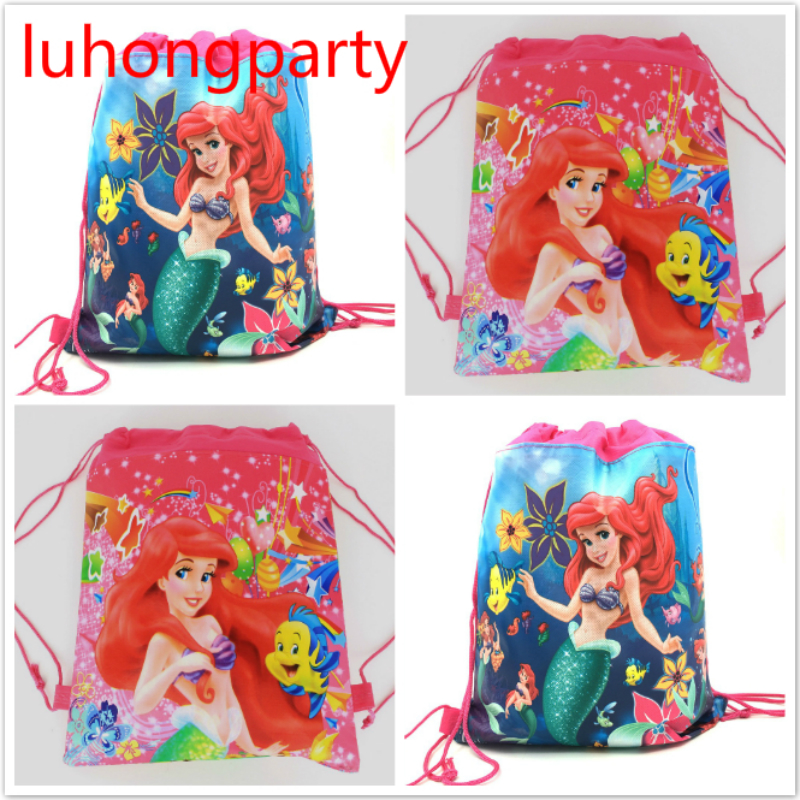 1pcs 34*27cm Little Mermaid theme non-woven bags fabrics drawstring backpack kids birthday party gift Bags1pcs 34*27cm Little Mermaid theme non-woven bags fabrics drawstring backpack kids birthday party gift Bags