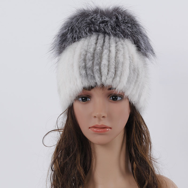 625bbf7f0d60b QM new winter fur hats real mink fur hat with silver fox fur top design  knitted