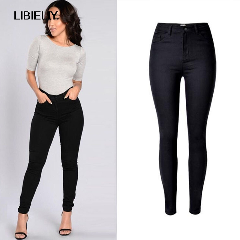 b7dcb59647e Nice Top Stylish Brand Solid Color Women Clothing Slim Sexy Jeans High  Waist Wild Girls Elastic. US $35.42. Plus Size L-XXXL Women Clothing Dress  New Summer ...