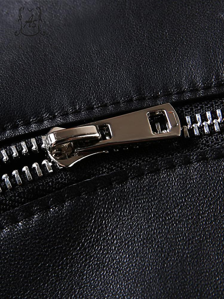 Courte Sexy De Mouton Jupe Femmes Cuir Noir Zipper En Jupes Irrégulière Ligne Automne Véritable Une Hanche Peau Ol Femelle Paquet WEH92ID