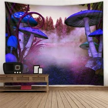 Huge Blue Mushroom Printed Tapestry Wall Hanging Art Psychedelic Forest Landscape Hippie Mandala Tapiz Fabric Bedroom Decor