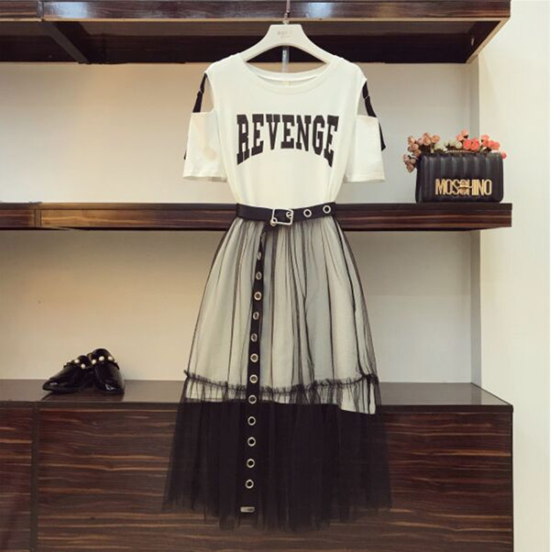 HTB1QeJvfYsrBKNjSZFpq6AXhFXaR - Summer Women Gauze Skirt Sets Two Piece Set Long Design Off Shoulder T Shirt & Gauze Skirt Students Holiday Outfits