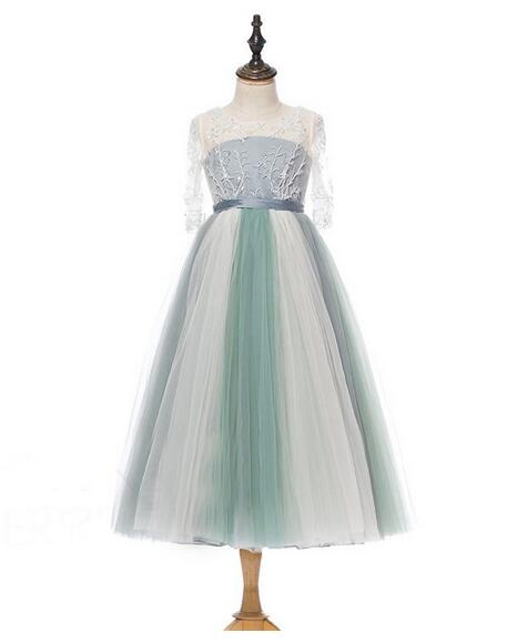 Girl's Pageant Formal Dresses 2017 Flower Girls Princess Dresses Backless Gowns Kids Birthday Children Wedding Long Dress