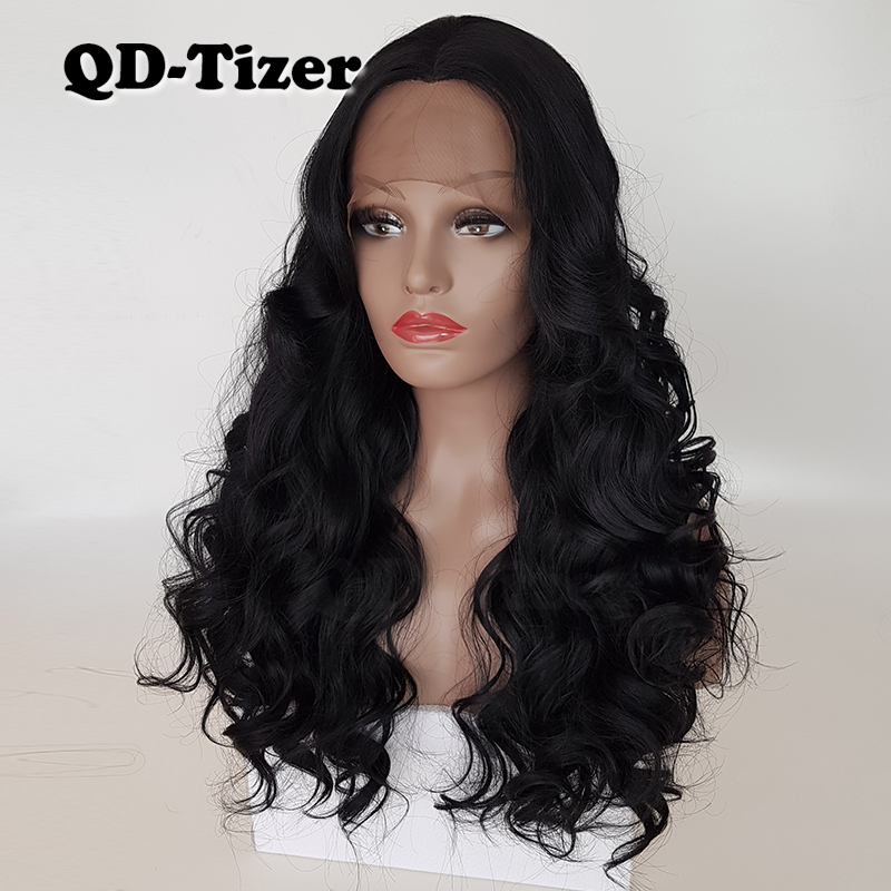 QD-Tizer Body Wave Black Color with Bangs Lace Wigs Glueless Big Wavy Heat Resistant Synthetic Lace Front Wig 180 Density Hair