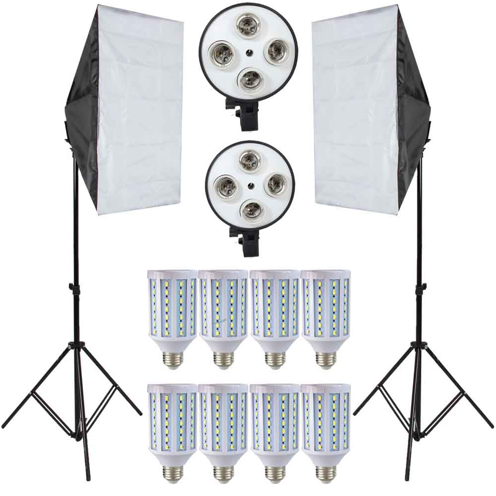 LED Lamps Lightbox for Photography Lighting Bulbs Kit Photo Equipment with 2PC Softbox Light Stand For Photo Studio Diffuser photo studio softbox kit photo equipment of 2pcs 50x70 softbox light stand for camera photo studio diffuser ba350