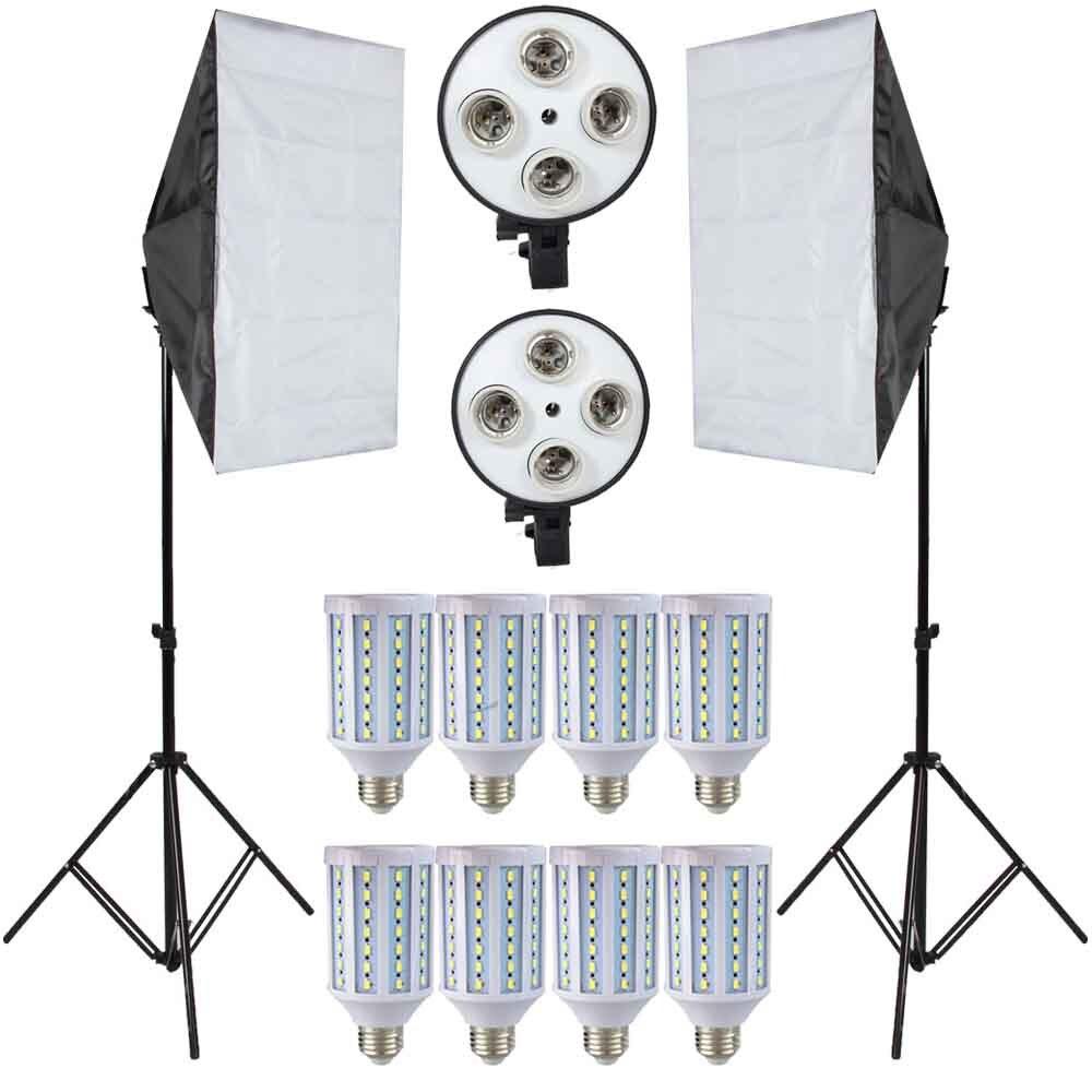 Lampes LED Lightbox pour Photographie Éclairage Ampoules Kit Photo Équipement avec 2 PC Softbox Stand Lumière Pour Photo Studio Diffuseur