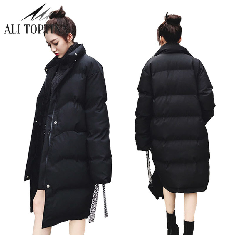 New Thicking 2017 Winter Jacket Coat Women Down Parka Coat Plus Size Long Warm Coat Snow Wear Cotton-padded Lady Loose Coat winter jacket female parkas hooded fur collar long down cotton jacket thicken warm cotton padded women coat plus size 3xl k450